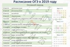 Расписание ОГЭ_основной период 2019