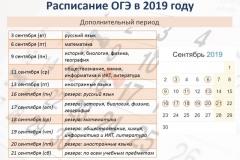 Расписание ОГЭ_ дополнительный период 2019